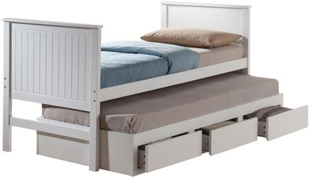 Bungalow Collection 30030F Full Size Captain Bed with Trundle and 3 Drawers in White