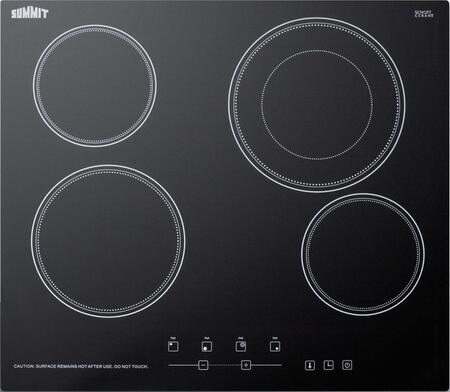 Summit CR4B23T5B 24 in. Radiant Electric Cooktop in Black with 4 Elements including Dual Zone Element