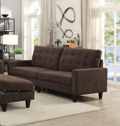 Nate Collection 50250 86 inch  Sofa with Memory Foam Cushions  Track Arms  Pocket Coil Seating  Tapered Legs  Pine Wood Frame and Fabric Upholstery in Chocolate
