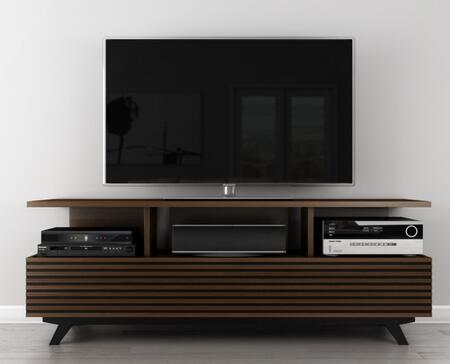 TANGO- AV Tango Collection 70 Mid-Century Modern Tv Stand Media Console For Flat Screen And Audio Video Installations With A Cognac Finish Over Brazilian