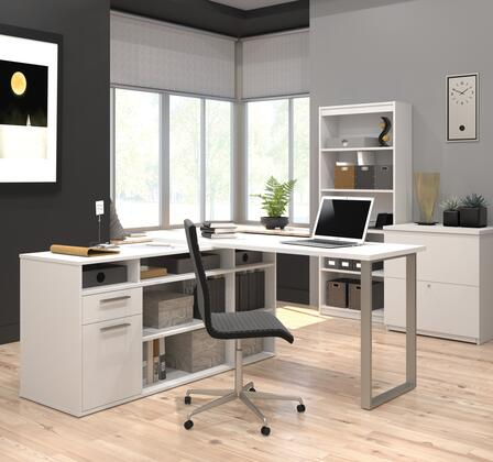 29851-17 Solay L-Shaped Desk with lateral file and bookcase in