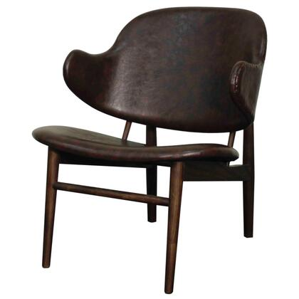 Doyle Collection 413035P-D2-DT Chair with Dark Walnut Legs  Curved Arms and PU Leather Upholstery in Distressed