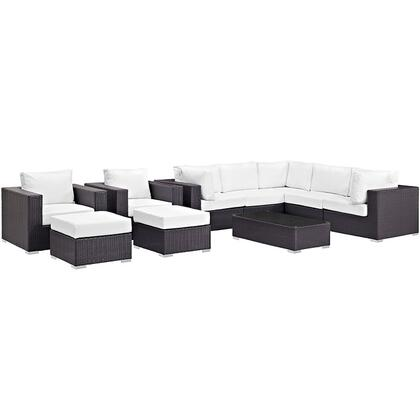 Convene Collection EEI-2169-EXP-WHI-SET 10-Piece Outdoor Patio Sectional Set with Coffee Table  3 Armless Chairs  2 Armchairs  2 Corner Sections and 2 Ottomans