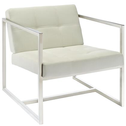 Hover Collection EEI-263-WHI Lounge Chair with Tufted Back and Seat  Mid-Back Height  Geometric Stainless Steel Frame and Faux Leather Upholstery in White