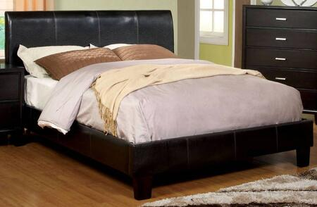Villa Park Collection CM7007EK-BED Eastern King Size Platform Bed with Curved Headboard  European Slat Kit  Leatherette Upholstery and Solid Wood Construction