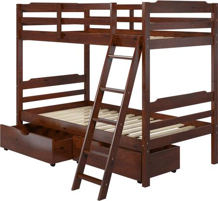 "Hayden 4.0 Collection A454 78"" Twin Size Storage Bunk Bed with Solid Pine Wood Construction  Wood Rails and 2 Drawers in"