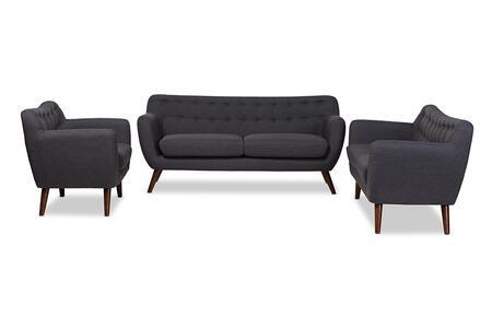 809-DARK-GREY-3PC-SET Baxton Studio Harper Mid-Century Modern Dark Grey Fabric Upholstered Walnut Wood Button-Tufted 3-Piece Sofa