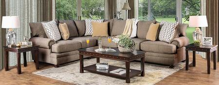 Augustina SM5165-SECT3PK 4-Piece Living Room Sets with Sectional Sofa  Coffee Table and 2 End Tables in Light