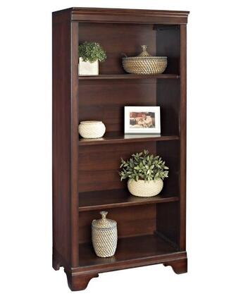 Belcourt ER-BLC-OBK55-D 55 inch  Tall 4-Shelf Bookcase with Molding Details  Fully Finished Side and Back Panels and Constructed with Wood Veneers in Cherry