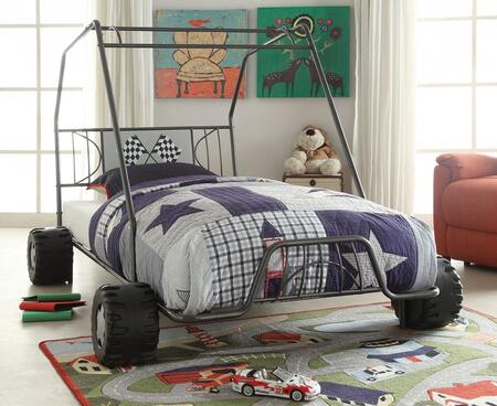 Xander Collection 37640T Twin Size Bed with Slat System Included  Racing Flag Decor Headboard  Go Kart Design and Metal Frame Construction in Gunmetal