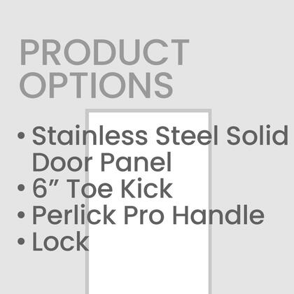 CR-SS-24PDR6L 24 inch  Right Hinge Stainless Steel Solid Door with 6 inch  Toe Kick and Perlick Two Tone Handle