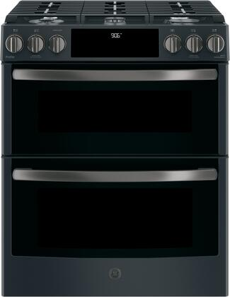 """PGS960FELDS 30"""" Slide In Front Control Gas Double Oven Convection Range with 6.7 cu.ft. Capacity  21 000 BTU Multi-Ring Burner  Dual Purpose Center Burner"""