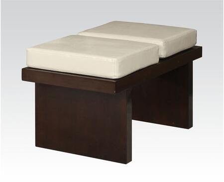 Keelin Collection 71039 19 inch  Bench with Beige Bycast PU Leather Upholstery and Wood Frame Construction in Espresso
