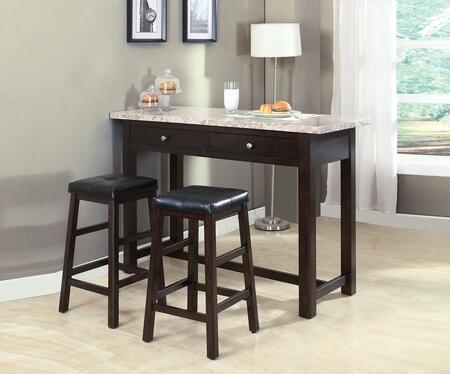 71270 Anton 3-Piece Counter Height Table and Chair Set with White Marble Table Top and PU Upholstery in Walnut