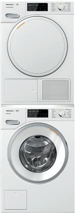 White Stacked Front Load Laundry Pair with WWF060WCS 24 inch  Front Load Washer  TWF160WP 24 inch  Electric Dryer  and WTV502 Stacking