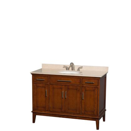 Wcv161648sclivunrmxx 48 In. Single Bathroom Vanity In Light Chestnut  Ivory Marble Countertop  Undermount Oval Sink  And No