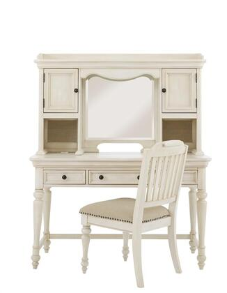 Madison 88904143PC Desk Set with Desk + Hutch + Chair in White