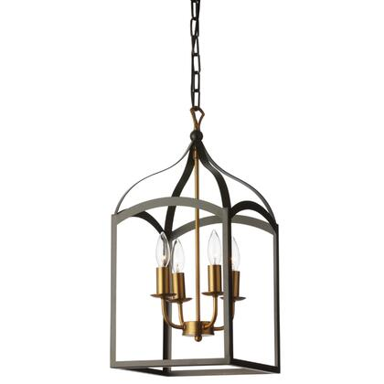 WIN-214C-BK 4 Light Chandelier Lantern  Matte Black With Vintage Bronze