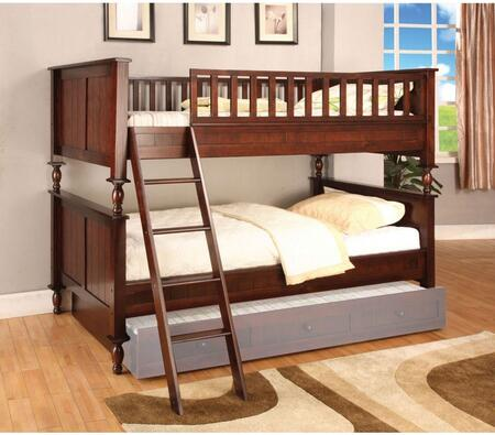 Radcliff Collection CM-BK001T-BED Twin Size Bunk Bed with Angled Ladder  10 PC Slats Top/Bottom  Solid Wood and Wood Veneers Construction in Brown Cherry