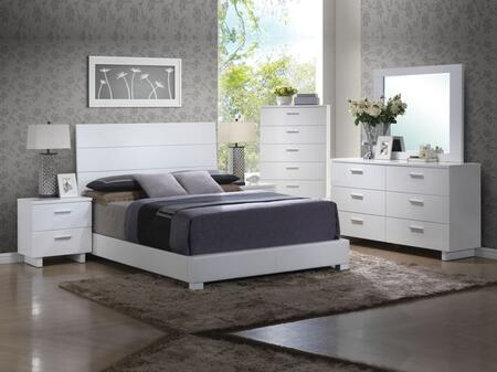Lorimar Collection 22627EKSET 6 PC Bedroom Set with King Size Bed + Dresser + Mirror + Chest + 2 Nightstands in White