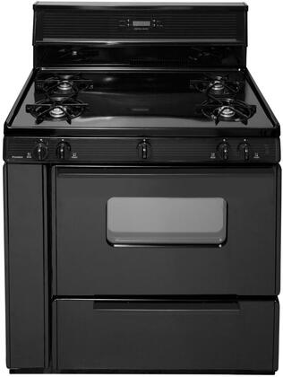 SLK240BP  36 inch  Electronic Spark Gas Range with 3.9 Cu. Ft. Capacity  Four Cooktop Burners  10 inch  Tempered Black Glass with Clock/Timer  Lift Up Top and Windowed