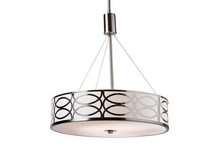 EVEN3819 Baxton Studio Milene Modern and Contemporary White Fabric and Brush Nickel Metal Drum Pendant