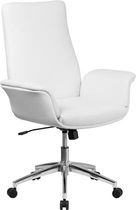 BT-88-MID-WH-GG Mid-Back White Leather Executive Swivel Chair with Flared