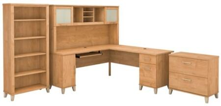 Somerset WC81410K-11-65-80 3-Piece Desk and Hutch Set with 5 Shelf Bookcase and Lateral File Cabinet in Maple