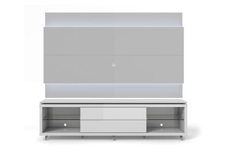 "Lincoln 1.9 Collection 21725283952 77"" TV Stand and TV Panel with LED Lights 4 Shelves and Silicone Wheels in White thumbnail"