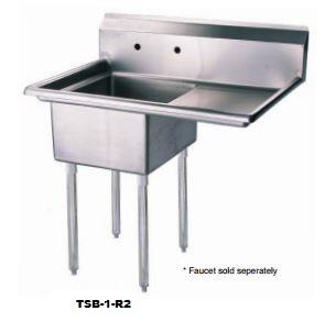 TSB-1-R2 Drain Board 51 inch W One Compartment Sink with Swirl Away Bowl Drainage and Adjustable ABS Bullet Feet in Stainless