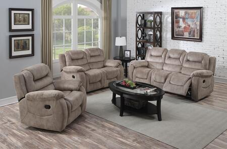 Dreka 52180SLR 3 PC Living Room Set with Sofa + Loveseat + Recliner in Stone Grain