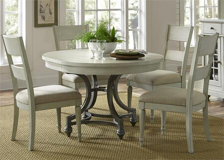 Harbor View III Collection 731-DR-5ROS 5-Piece Dining Room Set with Round Dining Table and 4 Slat Back Side Chairs in Dove Gray