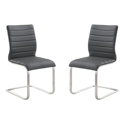 LCFUSIGR Fusion Contemporary Side Chair In Gray and Stainless Steel - Set of