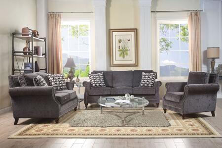 Ilex Collection 50290SET 5 PC Living Room Set with Sofa  Loveseat  Chair  Coffee Table and End Table in Grey