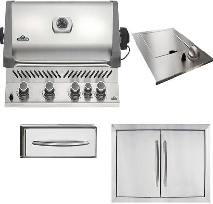 4-Piece Stainless Steel Outdoor Kitchen Package with BIP500RBPSS1 31 inch  Liquid Propane Grill  N3700504 18 inch  Side Burner  N3700502 28 inch  Double Access Door  and