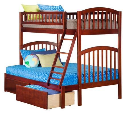 Richland AB64244 Twin Over Full Bunk Bed With Urban Bed Drawers In Antique