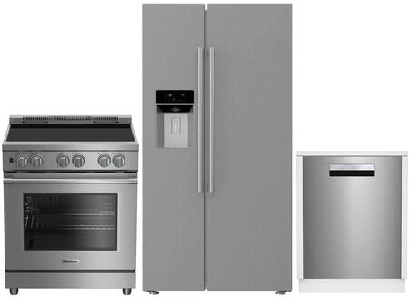 3-Piece Kitchen Package with BSBS2230SS 36 inch  Side by Side Refrigerator  BIRP34450SS 30 inch Slide In Electric Range  and a free DW25502SS 24 inch  Built In Full Console