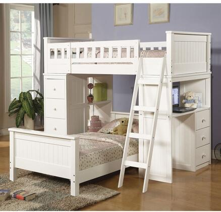 Willoughby Colelction 10970AB 2 PC Bedroom Set with Twin Size Loft Bed + Twin Size Bed in White