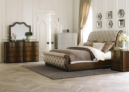 Cotswold Collection 545-BR-QSLDMN 4-Piece Bedroom Set with Queen Sleigh Bed  Dresser  Mirror and Night Stand in Cinnamon