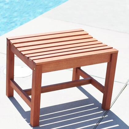 V1639 Malibu Eco-Friendly Outdoor Hardwood Garden Backless Chair  Natural