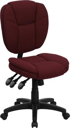 GO-930F-BY-GG Mid-Back Burgundy Fabric Multi-Functional Ergonomic Task