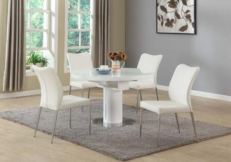 NORA-5PC-WHT NORA DINING Nora White 5 Piece Set with Round Wooden Dining Table and 4 White Curvy Back Side