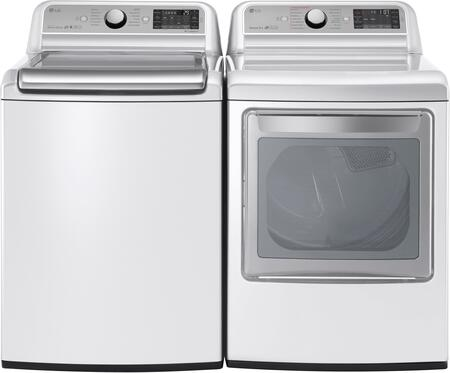 """White Top Load Laundry Pair with WT7500CW 27"""""""" Super Capacity Washer and DLGX7601WE 27"""""""" Electric"""" 712490"""