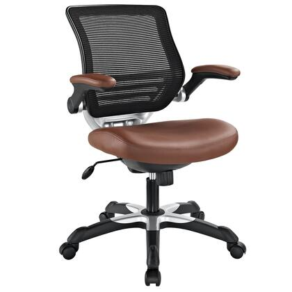 Edge Collection EEI-595-TAN Office Chair with Adjustable Seat Height  Flip-Up Arms  Casters  Tilt Tension Control  Mesh Backrest  Sponge Seat and Vinyl Seat