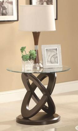 702787 Occasional Group Round End Table with Tempered Glass Top and Intersecting Rings Legs in Espresso