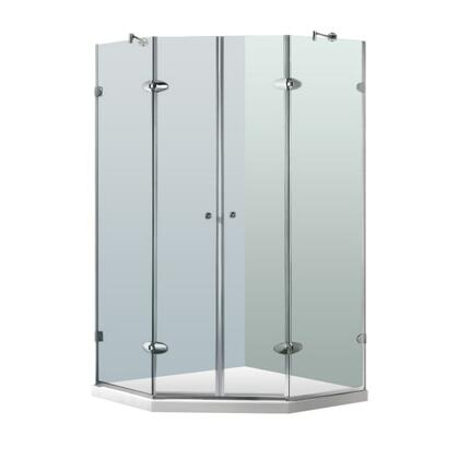 VG6063BNCL47W Gemini 47.625 inch  x 47.625 inch  Frameless Neo-Angle Shower Enclosure with 0.375 inch  Clear Glass  White Base  French Double Doors  Full-Length Magenetic