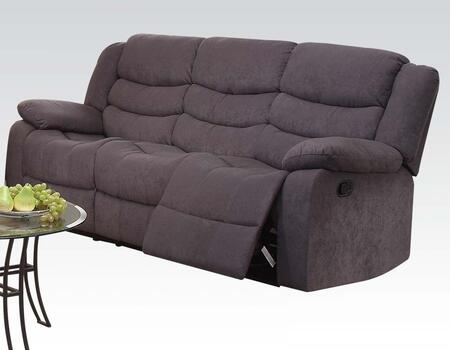 Jacinta Collection 51410 81 inch  Motion Sofa with Wood and Metal Frame  Tight Cushions and Velvet Upholstery in Grey