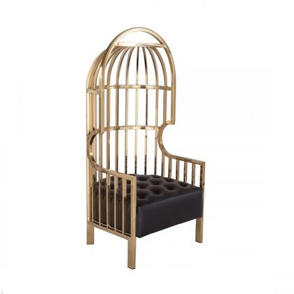 Cawell FHC053BLK Canopy Chair with Stainless Steel Frame  Button Tufting and Polyurethane Upholstery in Gold and