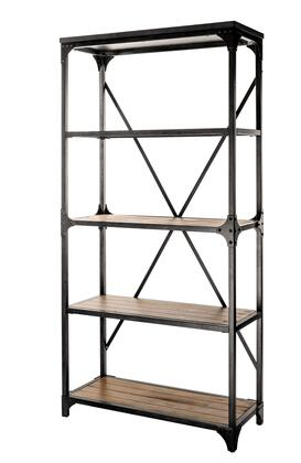 Collin Collection D1054A17BS 72 inch  Bookcase with Handbrushed Metal Finish  4 Shelves and X-Brace Back in