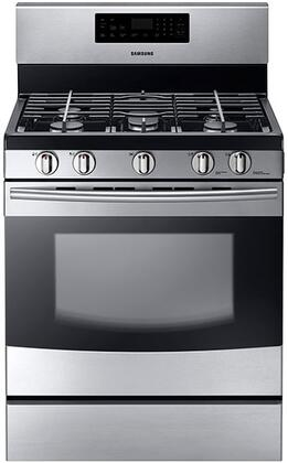 "NX58F5500SS 30"""" Freestanding Gas Range With 5.8 Cu. Ft. Capacity  5 Burners  53K BTU Total Power  Continuous Matte Grates  0.7 Cu. Ft. Storage Drawer  Self"" 332112"